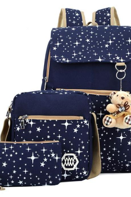 Korean Style Lovely Star Printed Leisure Street Three-Piece Bags