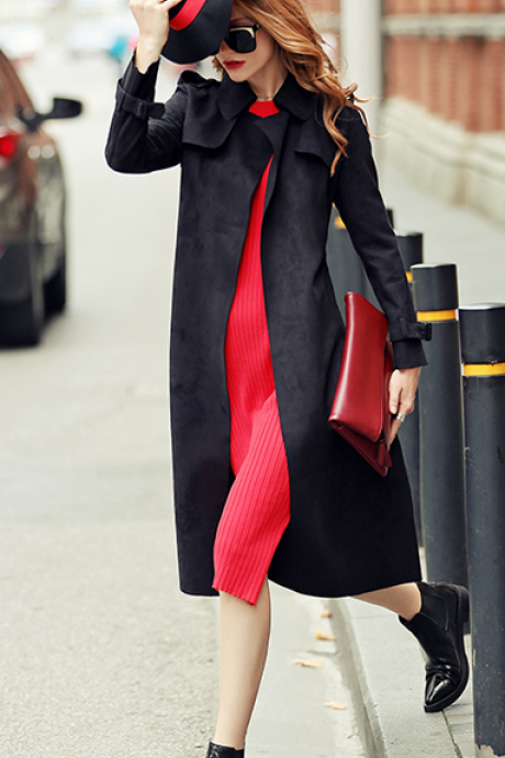 Slim Belt Lapel Long Deer Velvet Coat