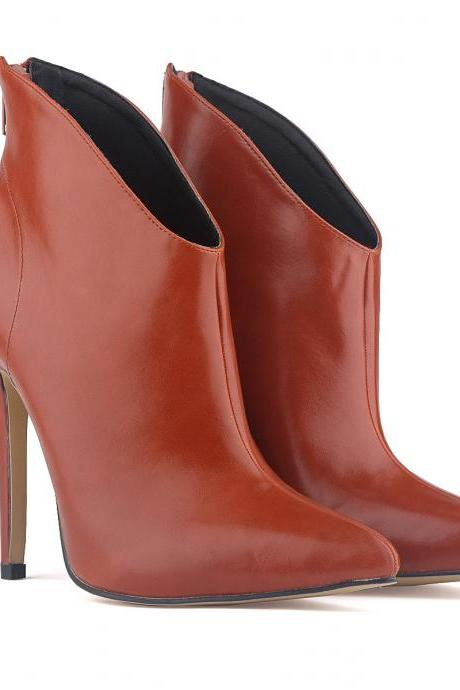 Pointed Toe High Heel Ankle Boots