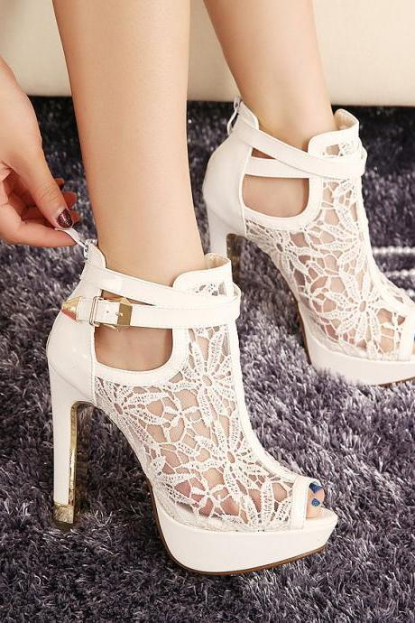 Peep-Toe Lace Mesh High Heel Sandals