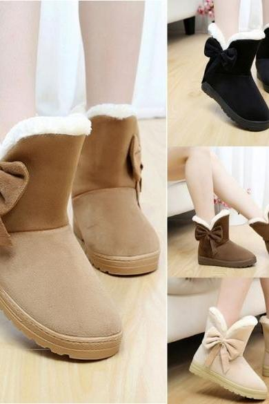 High Quality Women Winter Snow Boots Warm Flat Heel Solid Bowknot Snow Boots Ankle Platform Mid Shoes