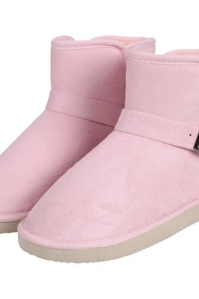 Women Winter Fashion Faux Fur Suede EVA Solid Warm Short Snow Boots