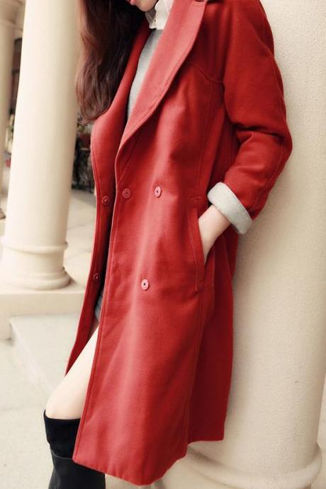 Belt Turn-down Collar Long Sleeves Mid-length Slim Coat
