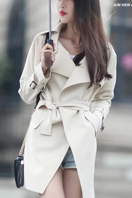 Turn-down Collar Pocket Slim Plus Size Mid-length Coat