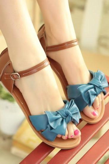 Sweet Bowknot Cute Flat Sandals Shoes