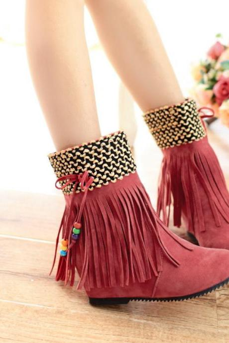 New Winter Tassel Increased Beads Short Boots