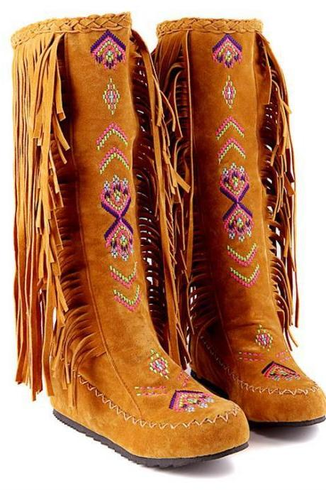 Women Tall Bohemian Suede Boots Featuring Fringes on the Hem and Pattern Embroidery