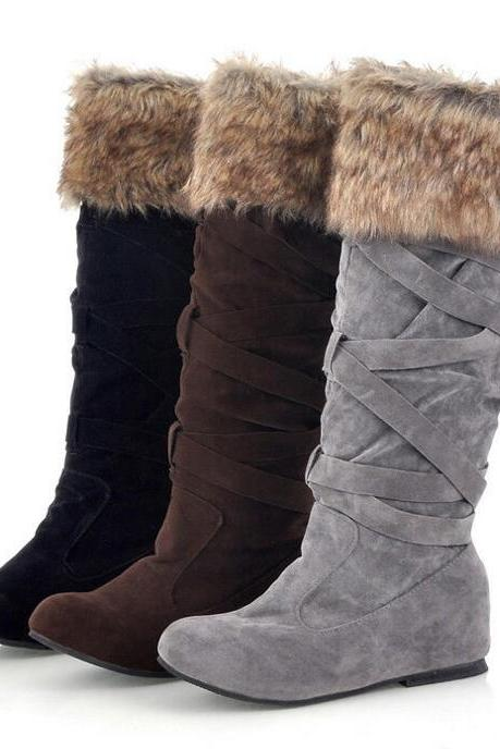 Fashion Increased Fur Cross Strap High Snow Boots