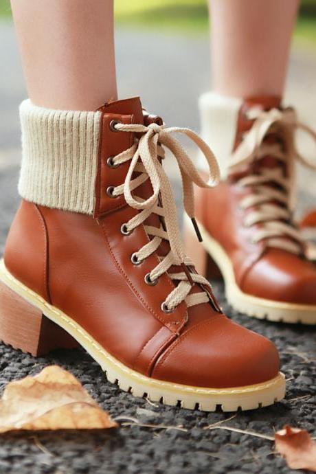 Retro Style Lace Up Patchwork Snow Motorcycle Boots