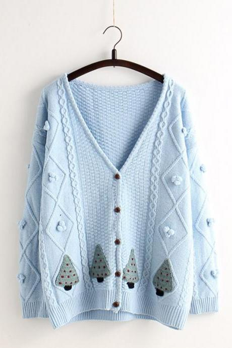 V-neck Single Button Loose Embroidery Short Cardigan