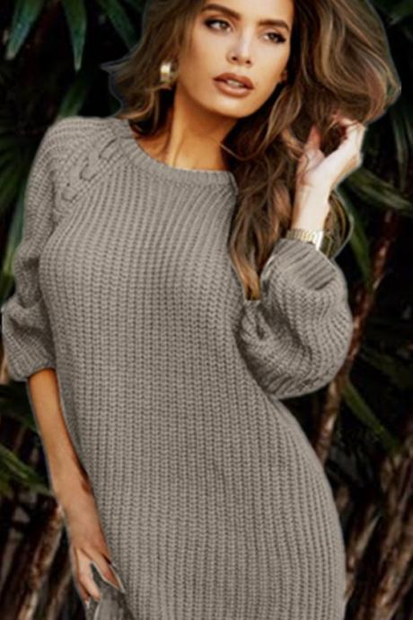 Scoop Knit Solid Loose Long Pullover Sweater