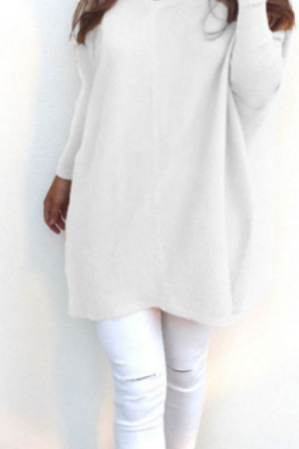 Solid V-neck Batwing Loose Long Pullover Sweater