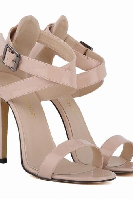 Patent Leather Ankle Straps Criss-Cross High Heel Sandals