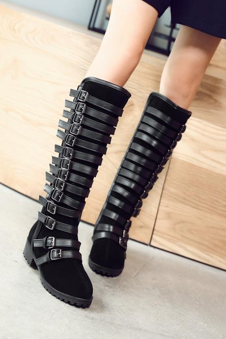 Multilayer Buckle Belt Tall Canister Frosted Boots