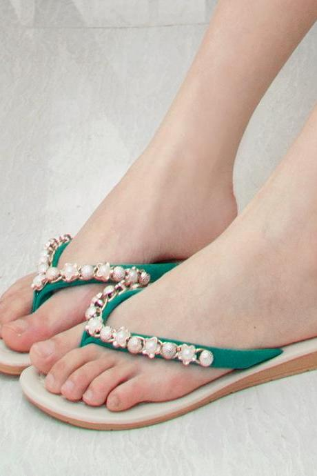 Beautiful Pearl Flip-Flop Casual Slippers