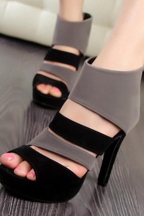 Roman Style High-Heeled Color Matching Sandals