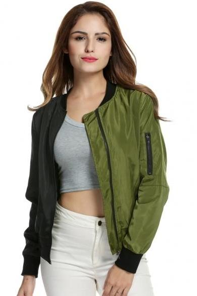 Women Casual Patchwork Biker Jacket Zip-Up Short Slim Bomber Jacket