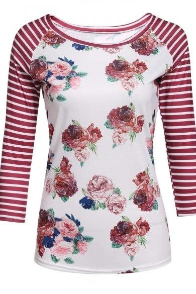 Women O-Neck Striped Raglan Sleeve Floral Slim Fit T-Shirt Tops