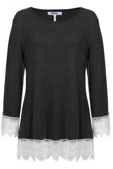 Women's Long Sleeve Lace Trim Tunic Casual Loose Blouse Tops