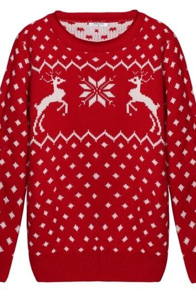 Knitted Long Sleeve Ribbed Christmas Reindeer Sweater - Red / Black