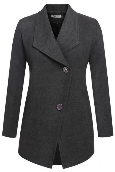 Zeagoo Women Fashion Casual Lapel Turn Down Collar Long Sleeve Solid Wool Blend Long Coat
