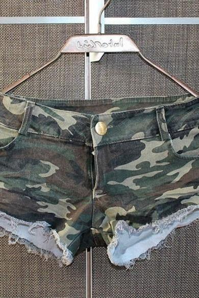 Sexy Women Hot Pants Denim Low Waist Daisy Dukes Camouflage Jeans Short Shorts