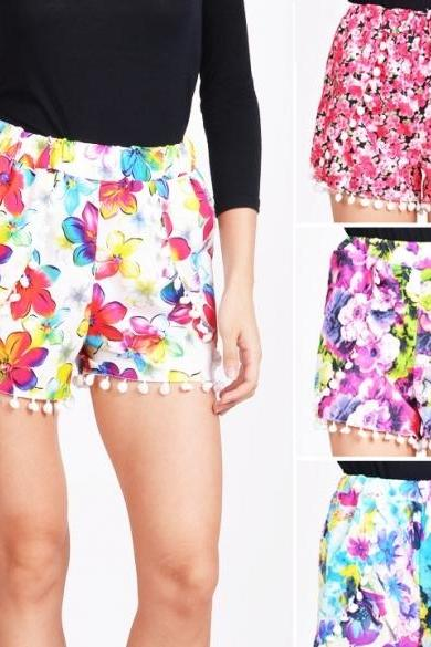 New Womens High Waist Tassel Festival Print Summer Casual Beach Gym Shorts Pants