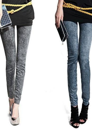 Women Fashion Jeggings Stretch Skinny Leggings Tights Pencil Pants Casual Snowflake Pattern Jeans