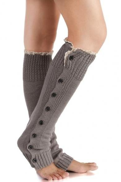 New Fashion Knitted Boot Sock Flat Button Down Crochet Lace Trim Socks Leg Warmers