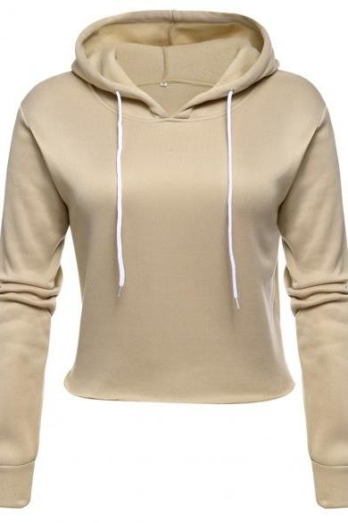 Women Casual Drawstring Hooded Long Sleeve Pullover Fleece Crop Hoodie Sweatshirt