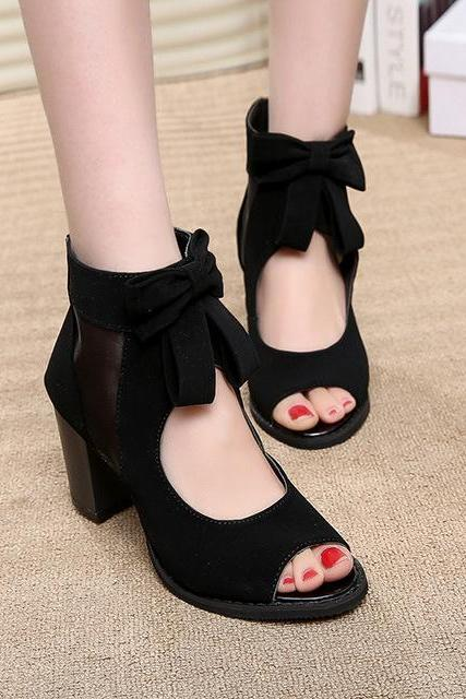 Leisure Mesh Bowknot Peep-Toe High-Heeled Sandals