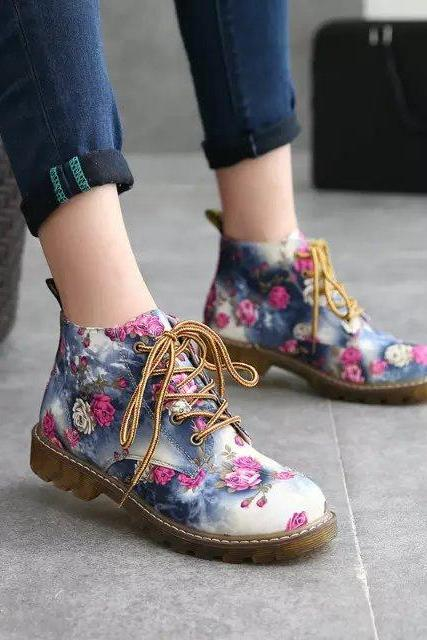 Floral Print Military-Style Ankle Boots