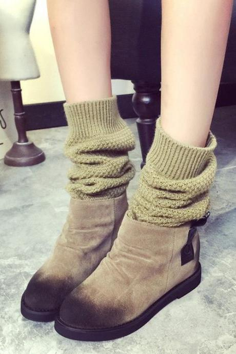 Wool knitting Canister Flat Martin Boots