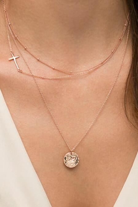 Good Luck Cross Multilayer Sequins Necklace