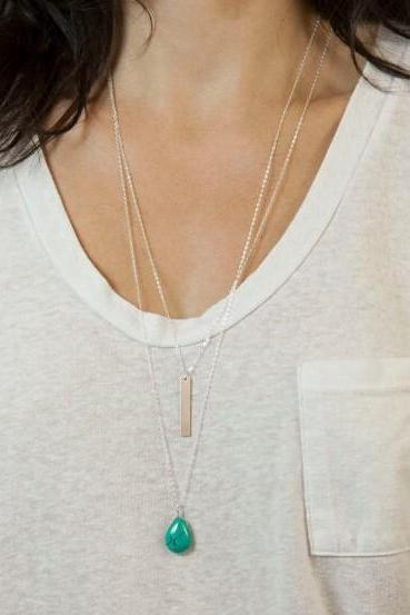 Water Drops Strip Multilayer Necklace