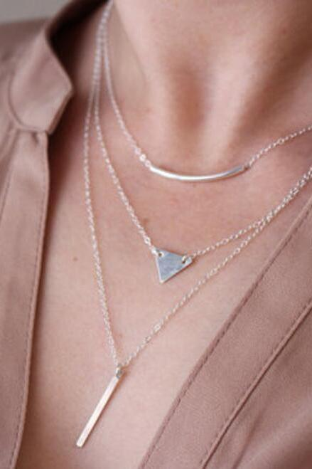 Classic Triangle Sequins Multilayer Necklace