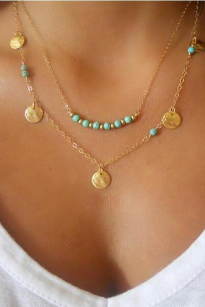 Double Layers Bright Turquoise Necklace