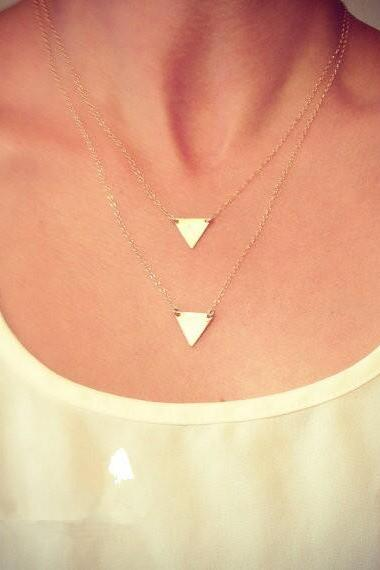 Fashion Simple Triangle Multilayer Necklace