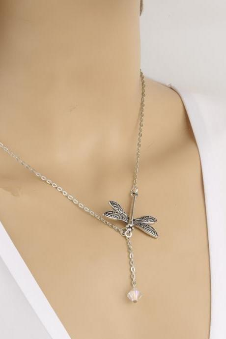 Dragonfly Crystal Tassels Short Clavicle Necklace