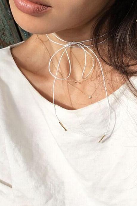 Minimalist Wax String Bowknot Lady's Necklace