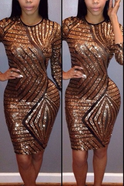 Scoop Splicing Sequins 3/4 Sleeve Bodycon Club Knee-length Dress