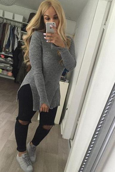 High-neck Split Solid Knit Long Sweater