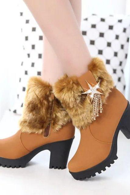 Casual Warm Faux Fur Ankle Boots With Star Tassels