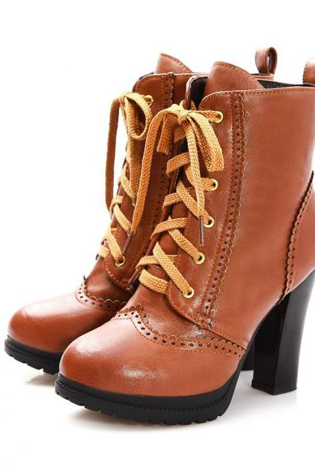 High Heeled Lace Up Non-Slip Martin Boots