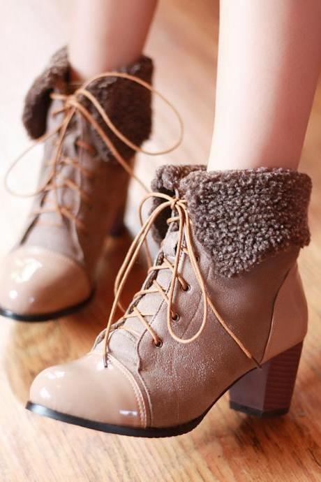 Middle Heeled Patchwork Lace Up Short Boots