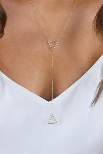Hollow Out Metal Triangle Pendant Necklace
