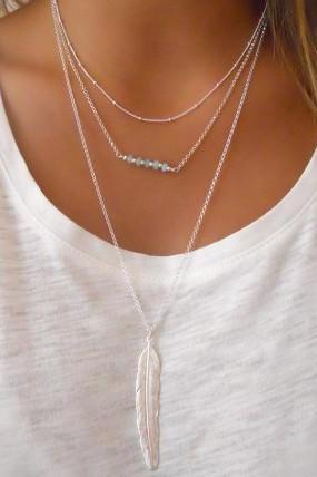 Crystal Beads Metal Feather Tassels Multilayer Necklace