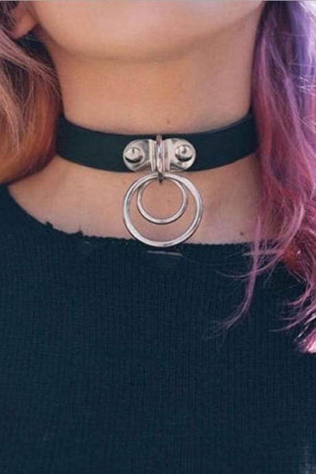 Hip-Hop Metal Ring Leather Collar Necklace
