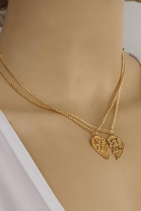 Delicate Heart Couples Short Clavicle Necklace
