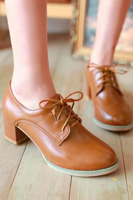 Fashion Chunky Heel Lace-Up Leisure Single Shoes